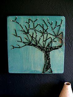 Modern String Art Wooden Tablet Winter Oak on Cozumel por NineRed String Wall Art, Nail String Art, Cozumel, Hilograma Ideas, Craft Ideas, Decor Ideas, Crafts To Do, Arts And Crafts, Art Tablet