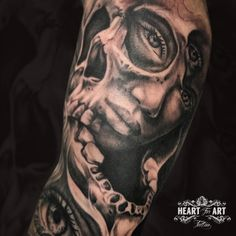 Black and grey skull tattoo by Jordan Lee in our Heart for Art Tattoo Studio, Manchester.  #Skulltattoo #blackandgreytattoo #tattoo