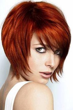 Short Copper Red Hairstyle for Women