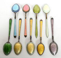 Silver enamel demitasse spoons