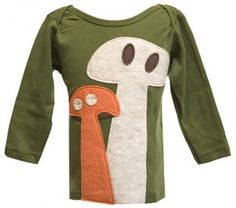 Cute mushroom shirt, easy to make a girlie one for sister.  Though I'd make the spots not look like alien eyes :)