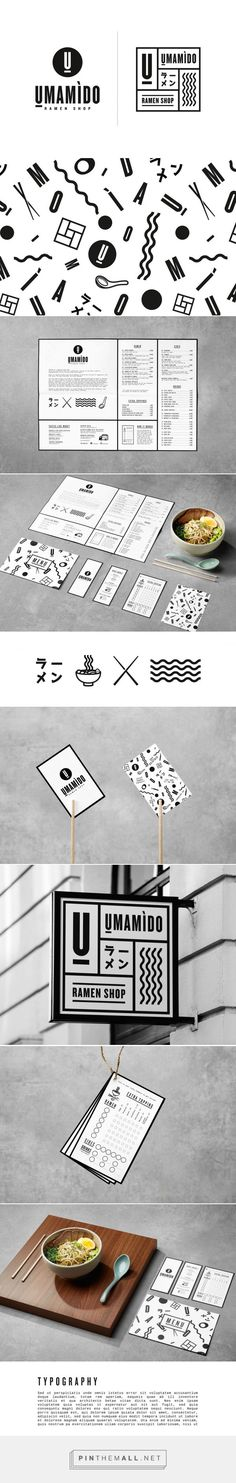 Antwerp and Brussels based Umamido serves traditional Japanese ramen noodles, but with a local accent. The visual identity was full revamped in keeping with the brand image: traditional Japanese themes in stark black & white come together with contemporary elements (like the Memphis-style pattern and iconography), resulting in a traditional visual language spiced up with playful twists.  Umamido by Pinkeye Design Studio   http://www.pinkeye.be/work/105-umamido-ramen-shop
