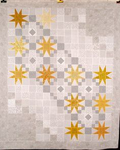 Neutrals with one color - great layout for a star block sampler. T sunny stars by Linda Rotz Miller. Star Quilt Blocks, Star Quilts, Quilting Projects, Quilting Designs, Low Volume Quilt, Neutral Quilt, Pinwheel Quilt, Sampler Quilts, Baby Quilts