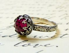 Beautiful Gothic Vintage Sterling Silver Floral Band Ring with Rose cut Ruby and Heart Bezel on Etsy, $85.00