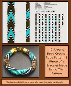 13 around bead crochet rope pattern and a photo showing what a bracelet made using that pattern looks like. I did not create the pattern or bracelet. I simply put the two together as I find it useful to see the finished piece next to the pattern when choo Loom Bracelet Patterns, Beaded Jewelry Patterns, Beading Patterns, Crochet Beaded Bracelets, Bead Loom Bracelets, Bead Crochet Patterns, Bead Crochet Rope, Loom Beading, Bead Weaving