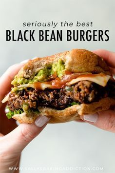BEST black bean burgers, grilled or baked! Meat lovers went crazy for these . The BEST black bean burgers, grilled or baked! Meat lovers went crazy for these .The BEST black bean burgers, grilled or baked! Meat lovers went crazy for these . Tasty Vegetarian Recipes, Vegan Vegetarian, Healthy Recipes, Vegan Veggie Burger, Black Bean Quinoa Burger, Black Burger, Homemade Veggie Burgers, Meatless Burgers, Recipe For Veggie Burgers