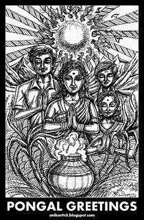PONGAL FESTIVAL of TAMILNADU - Art by Anikartick,Chennai,TamilNadu,India