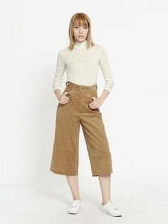 "Shop ""Karti Corduroy Culottes - Camel"" at pomelofashion.com"