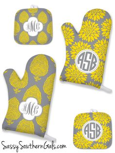 Oven Mitt Gift!!!! Awesome housewarming gift! Design your own personalized / monogrammed pot holders. Choose from tons of patterns and colors at www.SassySouthernGals.com ~ Monogrammed Gifts & Accessories