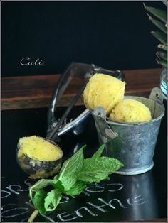 Sorbet Ananas Menthe Ice Cream Candy, Vegan Ice Cream, Cooking Ice Cream, Granita, Juice Drinks, Ice Ice Baby, Ice Cream Recipes, Smoothies, Muffin