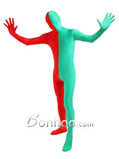 Half Red And Half Green Color Lycra Unisex Spandex Zentai Suit