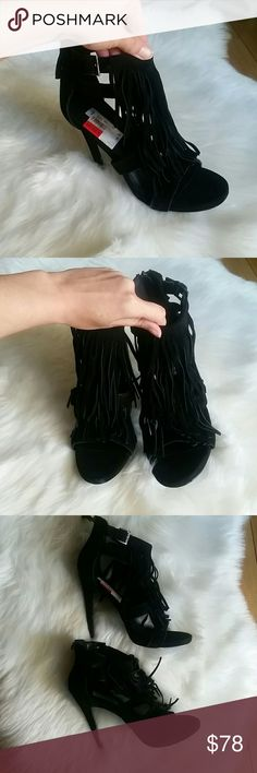 Steve Madden fringe heels Brand new heels, never worn! These are so stunning, but I can't walk in tiny stem heels any more!! I hope these go to a great home!! Open to reasonable offers! Steve Madden Shoes Heels