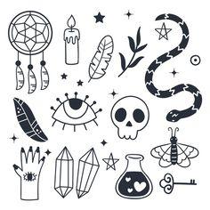 Pack de elementos esotéricos vector grat... | Free Vector #Freepik #freevector #mano #dibujados-mano #craneo #arte