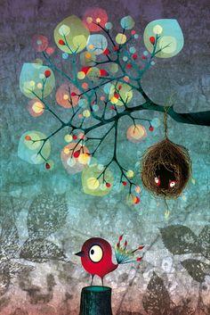 ocell i niu Art And Illustration, Illustration Mignonne, Cartoon Illustrations, Art Fantaisiste, Disney Princess Cartoons, Art Mignon, Ouvrages D'art, Naive Art, Whimsical Art