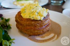 image of soft scrambled eggs vol-au-vent with chèvre and leeks at Lafayette in Greenwich Village, NYC, New York