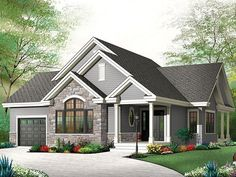 Discover the plan - Maitland 3 from the Drummond House Plans house collection. Ranch Bungalow house plan, with galley kitchen, open floor plan concept, garage, many foundation options. Bungalow House Plans, Craftsman Style House Plans, Ranch House Plans, Bedroom House Plans, New House Plans, Small House Plans, Style At Home, Country Style House Plans, The Plan