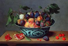 size: Giclee Print: Peaches and Plums in a Blue and White Chinese Bowl, with Other Fruit on a Table by Joseph Bail : Franz Xaver Winterhalter, Chinese Bowls, Still Life Fruit, Botanical Art, Food Pictures, Food Art, Flower Art, A Table, Giclee Print