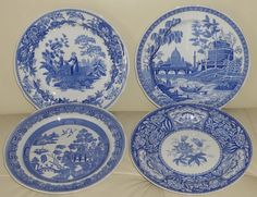 "THE SPODE BLUE ROOM COLLECTION ASSORTED PATTERNS 10.5"" DINNER PLATES SET OF 4 #SPODE"