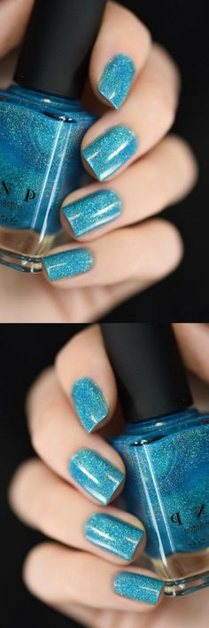 Float On is a vivid aquamarine blue nail polish that's just perfect for  summer! Studded with waves of Ultra Holographic sparkle, Float On will  easily leave you with one blindingly hot summer mani!  A beach party in a bottle!#naildesign #nailart #ad #winternails #glitternails