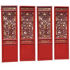 Set of 4 Chinese Antique Carved Doors, Screen, Red and Gilt, 19th Century   From a unique collection of antique and modern paintings and screens at https://www.1stdibs.com/furniture/asian-art-furniture/paintings-screens/