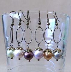 Handmade Colored Pearls & Bronze Oval Hoop Dangle by Pizzelwaddels, $14.97