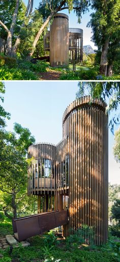 This small house makes use of vertical height, and has been arranged around the geometry of a square with four surrounding circles, creating a pin-wheel plan layout.