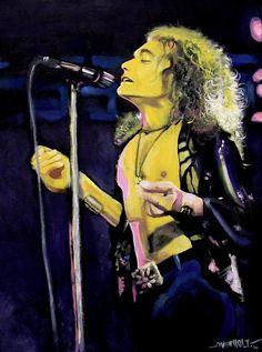 "Robert Plant -""...To Heaven"". Acrylic on canvas  portrait by Kim Overholt."