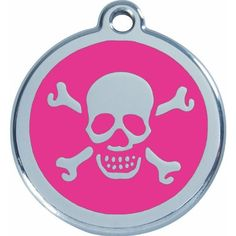 Red Dingo Stainless Steel with Enamel Pet I.D. Tag - Skull and Cross Bones * Want to know more, click on the image.