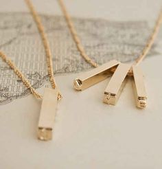 Letterpress Necklace (Gold Plate) by Erica Weiner, NYC Giddens Bijou Box, Madewell, Travel Accessories, Jewelry Accessories, Style Minimaliste, Dior, Gold Necklace, Arrow Necklace, Estilo Fashion