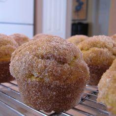 Pumpkin Doughnut Muffins (Baked in Muffin Tins).  You'll Need: Butter, flour, sugar, baking powder, baking soda, salt, cinnamon, nutmeg, allspice, buttermilk, pumpkin puree, brown sugar, and eggs.