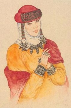 Noble Russian woman from Moscow in a  head-wear with silver decorations and temple pendants (kolty). The 12th century. Modern reconstruction of the wearing style according to the archaeological data. #medieval #Russian #history