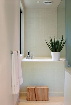 How To Brighten Up A Small Basement Bathroom The principal bathroom in Vancouver architect Clinton Cuddington's completely green home features a Japanese soaker tub encased in off-white 1 Small Basement Bathroom, Bathroom Spa, Bathroom Interior, Bathroom Ideas, Nature Bathroom, Concrete Bathroom, Bathroom Faucets, Spas, Japanese Soaking Tubs