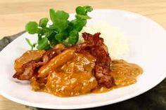Mørbradgryde ( sorte  gryde ), billede 4 Bacon, Meat, Chicken, Food, Mushroom, Meals, Cubs