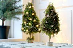 Zin om creatief aan de slag te gaan? Deze kerstboompjes van mos zijn makkelijk te maken en doen het leuk in een natuurlijk kerstinterieur. Bekijk de DIY!