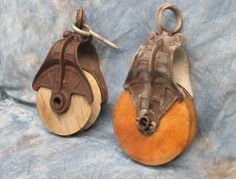 Antique Vintage Cast Iron & Wood 2 Pulley Farm by TheOldGrainery
