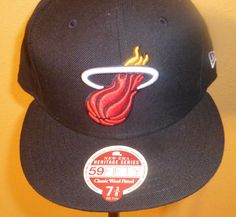 031e7d109c4 New Era 59fifty  Miami Heat  NBA Team Black Logo Cap Hat Fitted Size 7 3 8  from  16.99