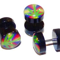 "Pair of Acrylic Marihuana Fake Cheater Illusion Ear Plugs 16G - Fake Plugs,Fake Gauges-High quality Acrylic- 10mm Gauge Acrylic ends - - 316L Stainless Steel Shaft - Size: 16gauge - Color: Rainbow - Length: 1/4"" (6mm) -  msin36"