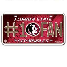 Florida State Seminoles  #1 Fan Metal License Plate Tag #RicoIndustries #FloridaStateSeminoles  #GoNoles #FSU #JockUniversity