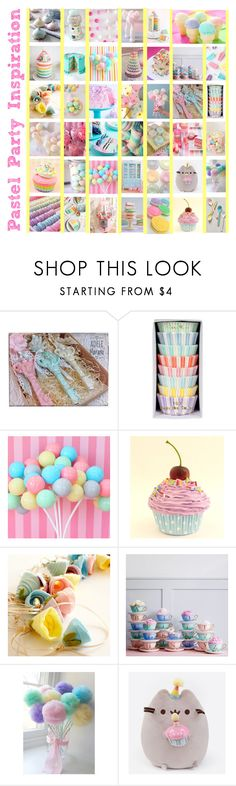 """""""Pastel Home Decor: Party Inspiration"""" by shannon-brennan ❤ liked on Polyvore featuring interior, interiors, interior design, home, home decor, interior decorating, Kate Spade, Martha Stewart, Bombay Duck and Pusheen"""