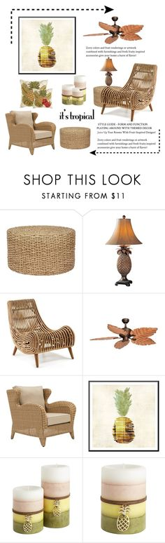 """It's Tropical"" by conch-lady ❤ liked on Polyvore featuring interior, interiors, interior design, home, home decor, interior decorating, Uttermost, Vaxcel Lighting, Pier 1 Imports and tropicalprints"