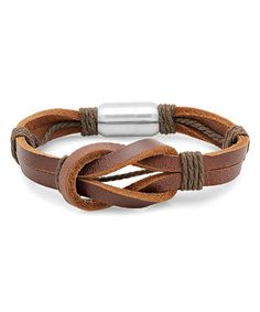 Brown Leather Knot Bracelet zulily Knotted leather bands and rope-inspired details give this bracelet a rustic edge. The stainless steel clasp ensures quick on and off. •0.7'' W x 8.5'' L •Magnetic closure •Stainless steel / leather