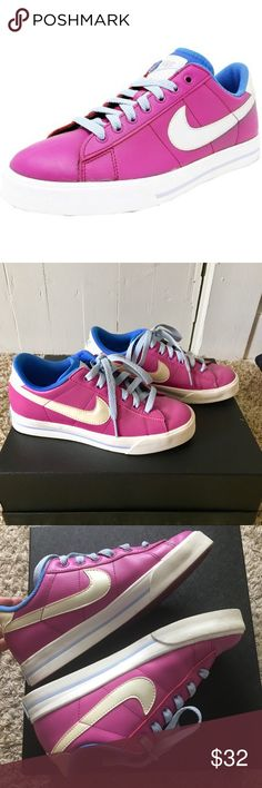 Nike Sweet Leather Classic shoe 5.5 Magenta tennis inspired casual sneaker. Streamlined, low cut profile. Soft leather upper and flexible rubber outsole. Blue interior and sky blue laces. Minimal wear (please see all pics for minor stains and scuffs).  Features Include: Leather upper with traditional lacing system for a snug, comfortable fit Solid rubber cupsole for support Rubber outsole with herringbone pattern for durability and traction Nike Shoes Sneakers