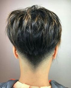 Shorter haircuts are especially common for men, because they are very easy to manage, don't require much maintenance, have very stylish looks, and are suitable for most any situation. Short Grey Hair, Short Hair Cuts, Man Bun Hairstyles, Shaved Nape, Modern Haircuts, Short Pixie Haircuts, Hair Dos, Hair Inspiration, Curly Hair Styles