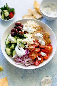 Greek Chicken Bowls Healthy Cooking, Healthy Eating, Healthy Recipes, Healthy Food, Healthy Detox, Healthy Chicken, Cooking Recipes, Chicken Meal Prep, Chicken Recipes