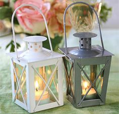 Luminous Mini-Lanterns for Wedding or Party Table Decor in White or Silver. Thinking of using as part of the garden centerpieces.