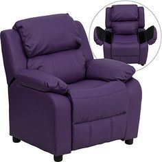 Shop Flash Furniture Deluxe Heavily Padded Purple Vinyl Kids Recliner with Storage Arms with great price, The Classy Home Furniture has the best selection of Kids Chair and Ottoman to choose from Cheap Furniture, Kids Furniture, Purple Furniture, Furniture Mattress, Furniture Websites, Quality Furniture, Furniture Stores, Luxury Furniture, Home Decor