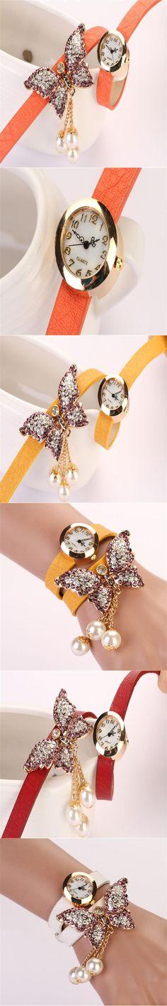 Fashion Women's Watch Faux Pearls Rhinestone Butterfly Quartz Analog Watch relogio feminino dropshopping free shippingK40