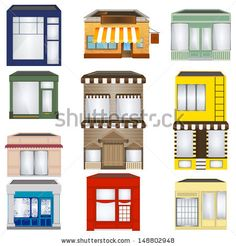 Set of Cartoon Shops set, icon, cafe, town, city, view, shop, door, urban, house, store, style, window, street, square, bakery, vector, modern, cartoon, downtown, isolated, business, exterior, building, structure, mini mark, illustration, architecture, coffee shop