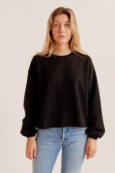 A classic sweatshirt with a romantic twist. Relaxed through the body and sleeve with a gathered cuff for extra volume, crafted from our super-soft Egyptian cotton loopback fabric. Boxy Top, Ethical Clothing, Egyptian Cotton, Everyday Look, Nice Dresses, Knitwear, Bell Sleeve Top, Sweatshirts, Tricot