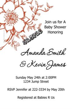 Flower Floral Baby Shower Invitations - Choose Any Color Scheme - Get these invitations RIGHT NOW. Design yourself online, download and print IMMEDIATELY! Or choose my printing services. No software download is required. Free to try!